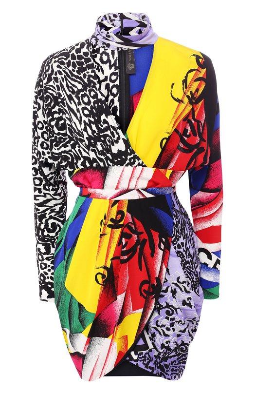 Купить Шелковое мини-платье с принтом Versace, A80994/A227727, Италия, Разноцветный, Шелк: 100%;