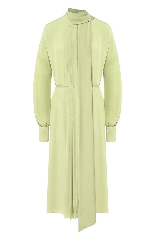 Купить Однотонное платье-миди из шелка Valentino, QB0VAJS01CG, Италия, Зеленый, Шелк: 100%;