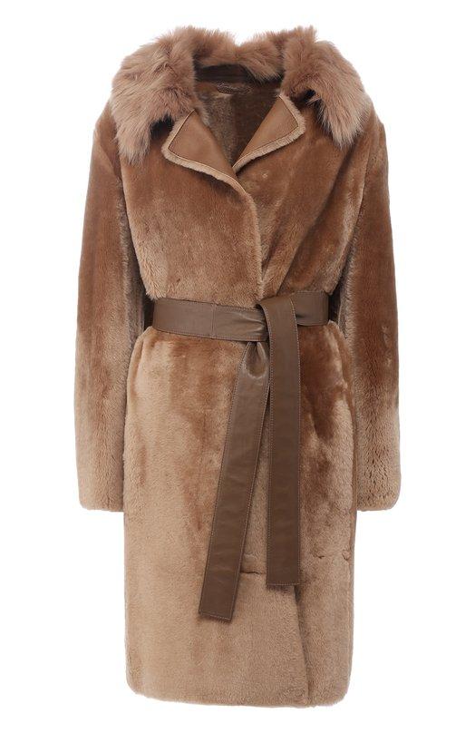 Купить Пальто с поясом из овчины BOSS, 50396380, Турция, Бежевый, Мех натуральный: 100%;
