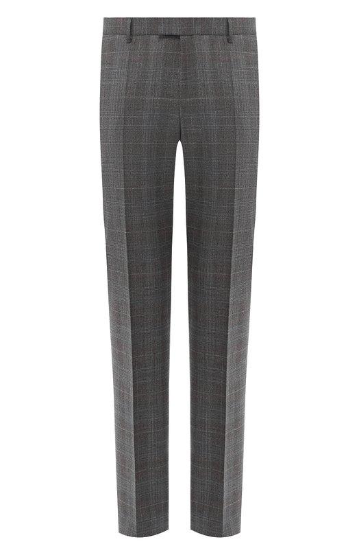 Купить Шерстяные брюки прямого кроя BOSS, 50394618, Турция, Темно-коричневый, Шерсть: 97%; Полиэстер: 2%; Другие материалы: 1%;