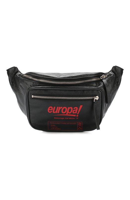 Купить Кожаная поясная сумка Europa Balenciaga, 532869/A0UZN, Италия, Черный, Кожа: 100%;