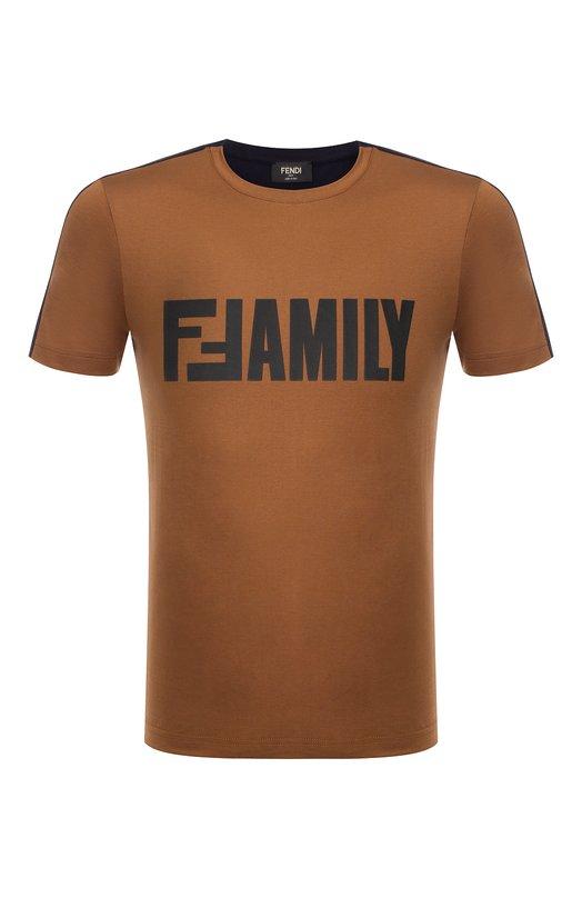 Купить Хлопковая футболка с принтом Fendi, FY0895 A4Q4, Италия, Разноцветный, Хлопок: 100%;