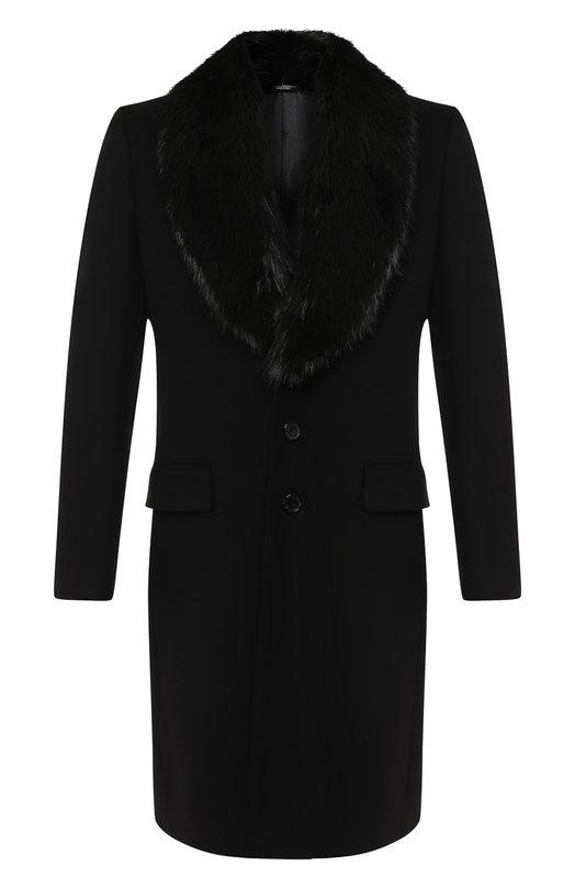 Купить Однобортное пальто из смеси шерсти и кашемира с меховой отделкой воротника Dolce & Gabbana, G005IZ/FU3GT, Италия, Черный, Шерсть: 90%; Отделка-Мех./бобер/: 100%; Кашемир: 10%;