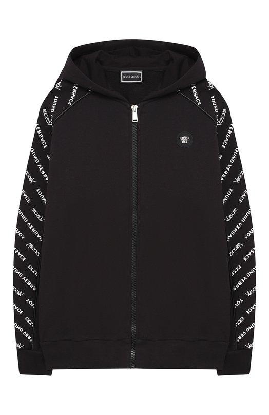 Купить Хлопковый кардиган на молнии с капюшоном Young Versace, YVMFE155/YFE130/M-L, Италия, Черный, Хлопок: 100%;