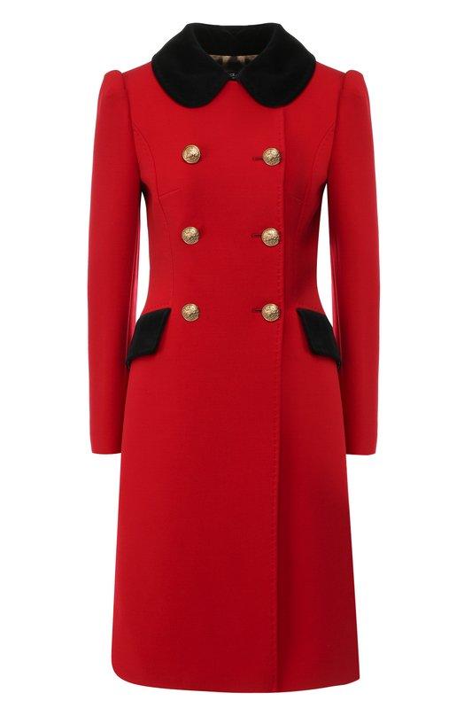 Купить Двубортное пальто из смеси шерсти и хлопка Dolce & Gabbana, F0U76T/FUBDS, Италия, Красный, Подкладка-полиэстер: 97%; Шерсть: 67%; Подкладка-эластан: 3%; Полиамид: 21%; Эластан: 2%; Хлопок: 10%;