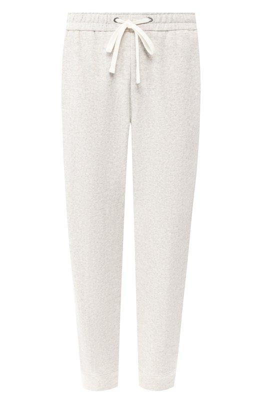 Купить Укороченные хлопковые брюки с поясом на кулиске James Perse, WDBC1814, Китай, Серый, Хлопок: 100%;