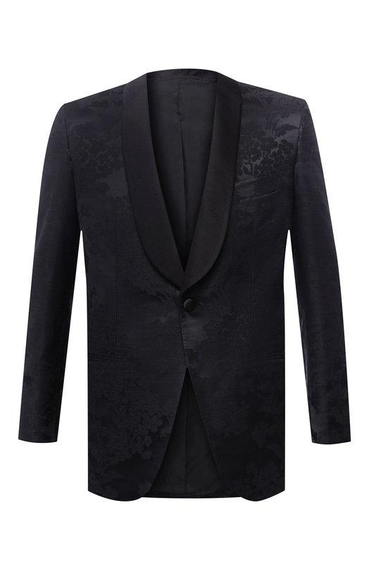 Однобортный пиджак из смеси хлопка и шелка Brioni