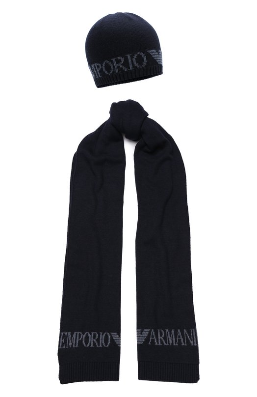 Купить Комплект из шапки и шарфа из смеси вискозы и шерсти Emporio Armani, 8N1450/1MA6Z, Италия, Темно-синий, Вискоза: 50%; Шерсть: 5%; Полиамид: 45%;