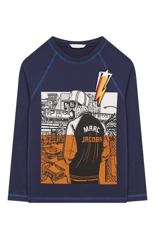 W25334/2A-5A, Хлопковый лонгслив с принтом Marc Jacobs, Индия, Синий, Хлопок: 100%;, Мужской, Футболки  - купить со скидкой
