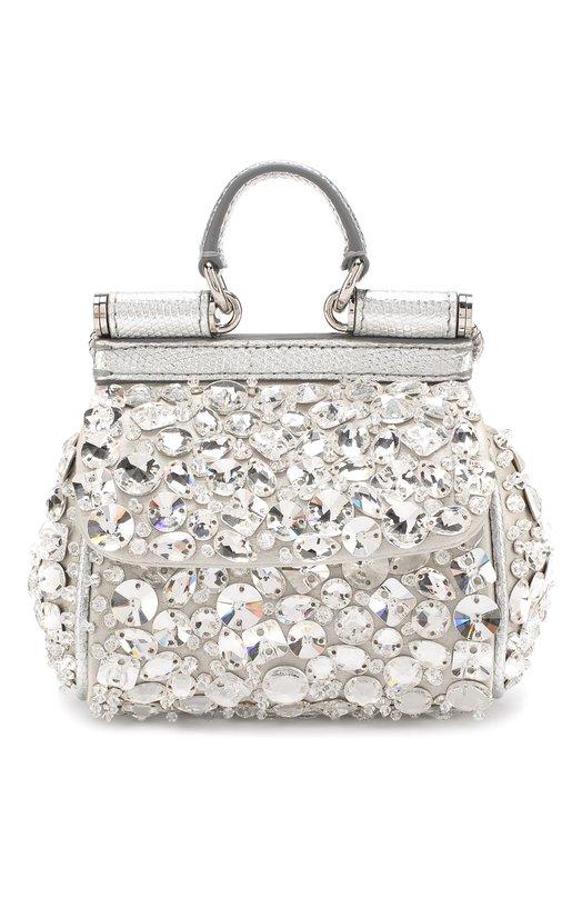 Купить Сумка Sicily micro с отделкой кристаллами Dolce & Gabbana, BB6494/AV727, Италия, Серебряный, Вискоза: 59%; Шелк: 28%; Кожа: 13%;