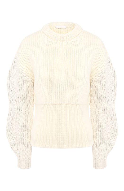 Купить Шерстяной пуловер со спущенным рукавом Chloé, CHC18WMP18530, Италия, Кремовый, Шерсть: 100%;