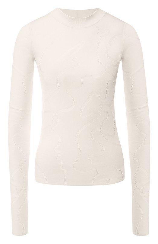 Купить Вязаный пуловер с круглым вырезом Helmut Lang, I06HW708, Китай, Бежевый, Вискоза: 65%; Полиамид: 35%;