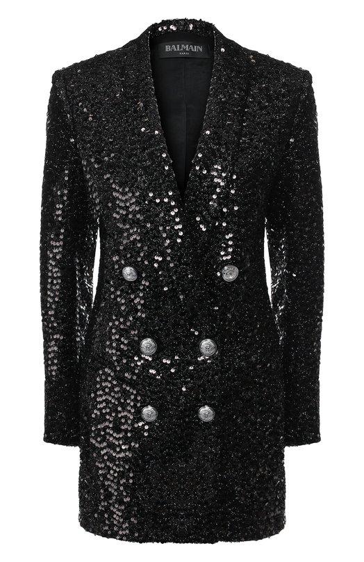 Купить Платье с пайетками и декоративными пуговицами Balmain, 153517/X027, Болгария, Черный, Полиэстер: 100%;