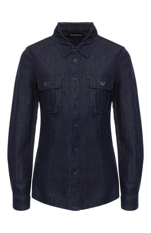 Купить Джинсовая блуза с накладными карманами Emporio Armani, 6Z2C75/2D2CZ, Маврикий, Синий, Хлопок: 100%;
