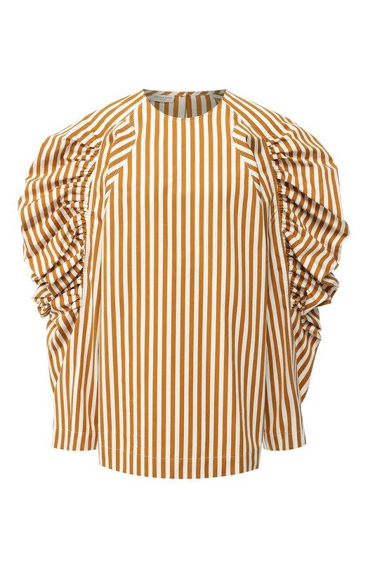Купить Хлопковая блуза с объемными рукавами Dries Van Noten, 182-10772-6050, Польша, Бежевый, Хлопок: 100%;