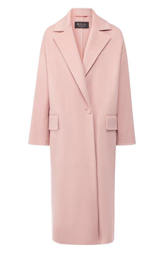 Купить Кашемировое пальто с отложным воротником Loro Piana, FAI3510, Италия, Розовый, Кашемир: 100%; Подкладка-полиэстер: 100%; Отделка-кожа: 100%;