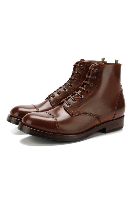 Купить Кожаные ботинки на шнуровке Officine Creative, L0WRY/004, Италия, Коричневый, Подошва-Резина: 80%; Подошва-Кожа: 20%; Подкладка-Кожа: 100%; Кожа: 100%; Низ-Кожа: 100%;