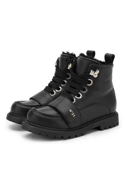 Купить Кожаные ботинки с внутренней меховой отделкой No. 21, 56971/36-41, Италия, Черный, Подошва-резина: 100%; Подкладка-мех/овчина/: 100%; Кожа: 100%; Низ-мех/овчина/: 100%;