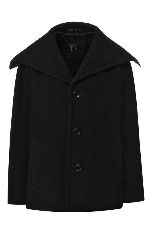 Купить Шерстяное пальто с отложным воротником Yohji Yamamoto, YV-C06-108, Япония, Черный, Шерсть: 70%; Полиамид: 3%; Полиэстер: 25%; Акрил: 2%; Подкладка-текстиль: 100%;
