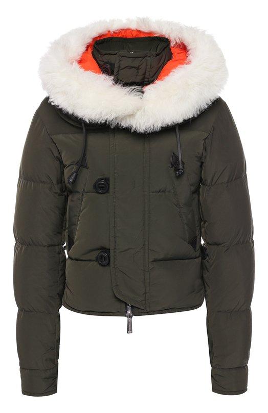 Купить Стеганая куртка с меховой отделкой капюшона Dsquared2, S72AM0669/S49346, Китай, Хаки, Наполнитель-утиный пух: 80%; Наполнитель-утиное перо: 20%; Полиэстер: 100%; Подкладка-полиамид: 100%; Отделка мех./коза/: 100%;