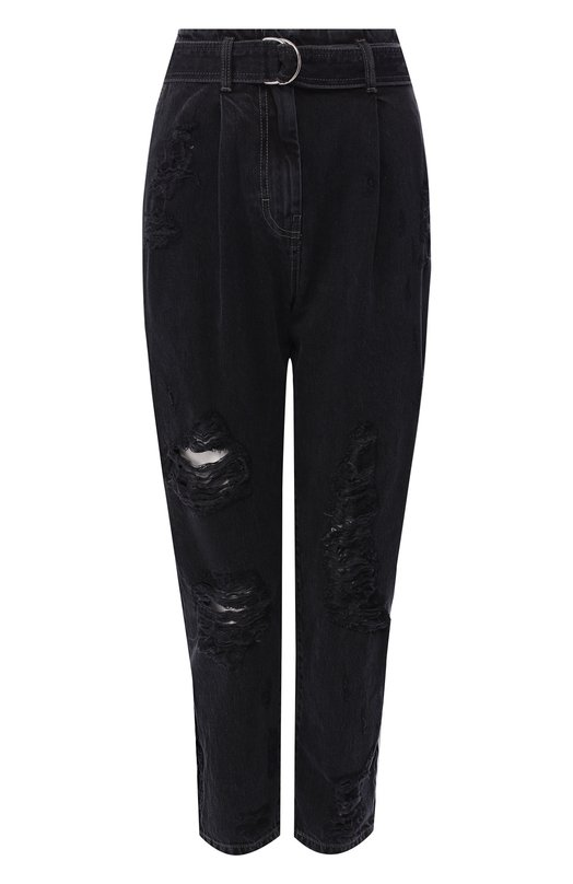 Купить Укороченные джинсы с поясом и потертостями Iro, 18WWP22BENDS/18WWP23MUY0L, Италия, Темно-серый, Хлопок: 100%;