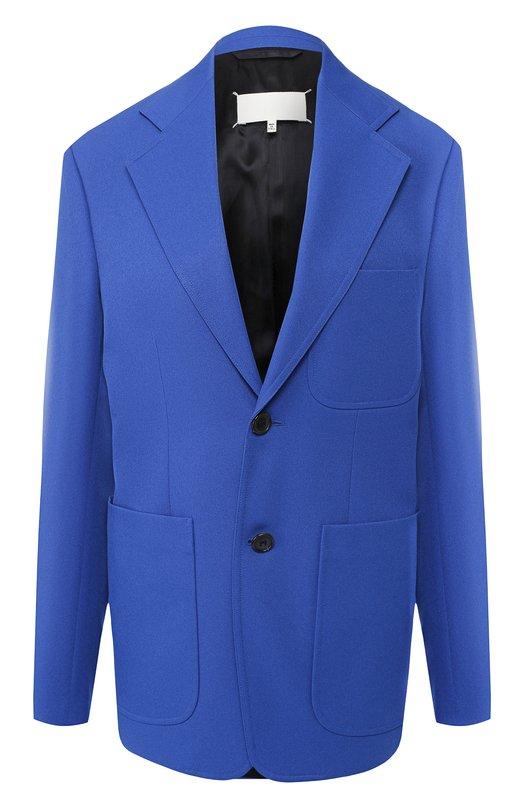 Купить Однотонный жакет с накладными карманами Maison Margiela, S29BN0278/S49529, Италия, Синий, Полиэстер: 100%;