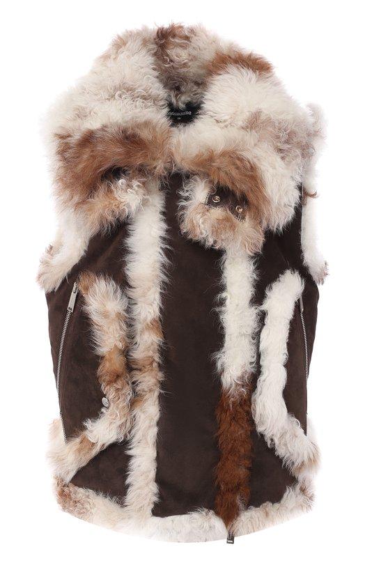 Купить Кожаный жилет на меховой подкладке Dsquared2, S72FB0135/SY1328, Румыния, Темно-коричневый, Подкладка-овчина: 100%; Кожа: 100%;