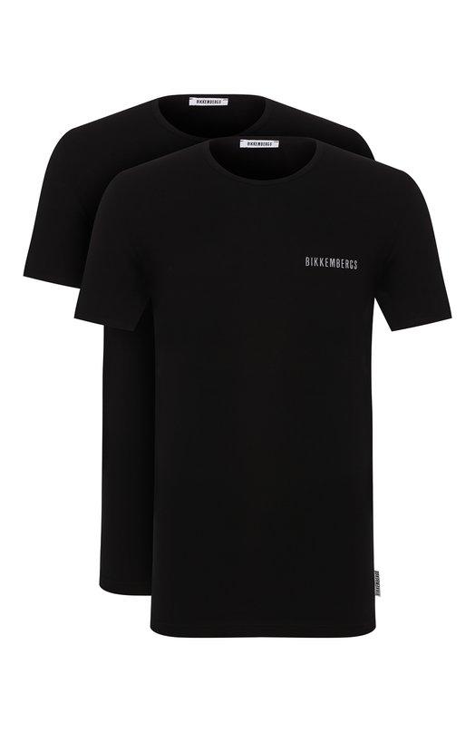 Купить Комплект из двух хлопковых футболок с круглым вырезом Dirk Bikkembergs, B41308T48, Болгария, Черный, Хлопок: 94%; Эластан: 6%;
