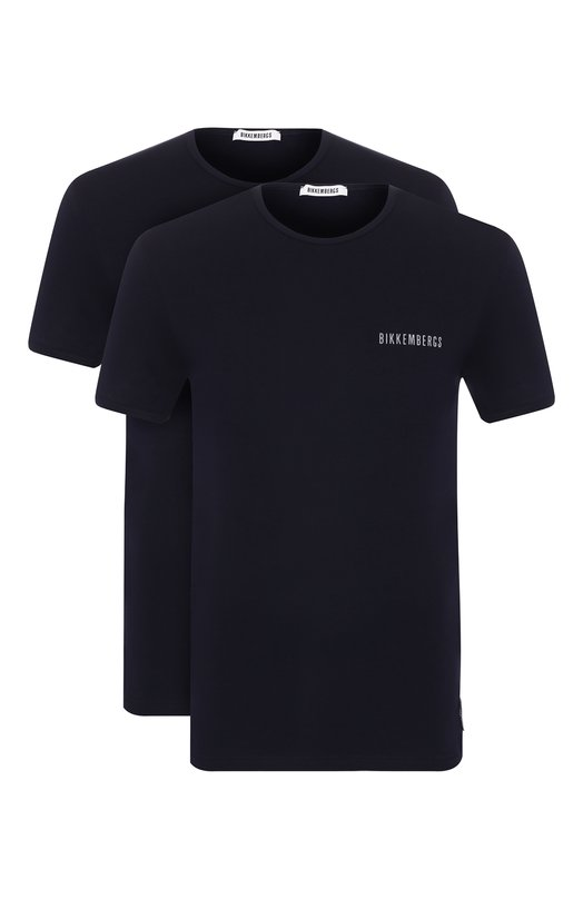 Купить Комплект из двух хлопковых футболок с круглым вырезом Dirk Bikkembergs, B41308T48, Болгария, Темно-синий, Хлопок: 94%; Эластан: 6%;
