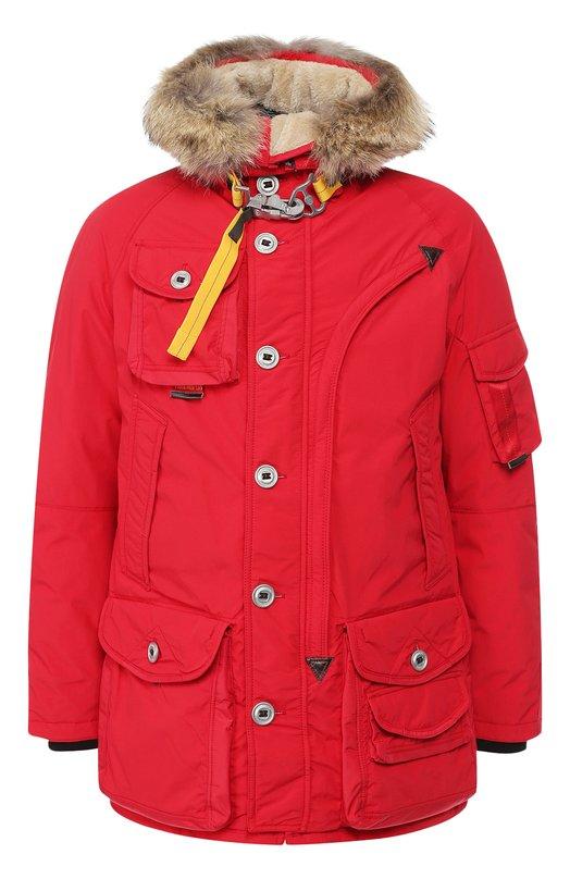 Купить Пуховая куртка на молнии с капюшоном Parajumpers, PQ02/MUSHER, Китай, Красный, Наполнитель-Гусиный пух: 90%; Полиамид: 100%; Подкладка-Полиэстер: 100%; Отделка капюшона-Мех/койот/: 100%; Отделка капюшона-Мех/овчина/: 10