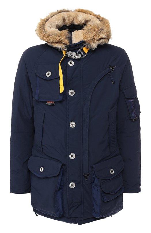 Купить Пуховая куртка на молнии с капюшоном Parajumpers, PQ02/MUSHER, Китай, Синий, Наполнитель-Гусиный пух: 90%; Полиамид: 100%; Подкладка-Полиэстер: 100%; Отделка капюшона-Мех/койот/: 100%; Отделка капюшона-Мех/овчина/: 10