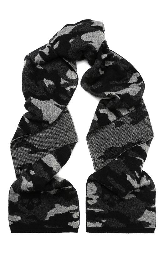 Купить Шерстяной шарф с камуфляжным принтом Gemma. H, UC CAM0 SCIA, Италия, Черный, Шерсть меринос: 100%;