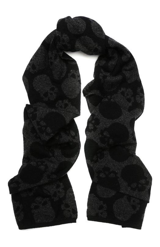 Купить Шерстяной шарф с принтом Gemma. H, UC JQ3G SCIA, Италия, Черный, Шерсть меринос: 100%;