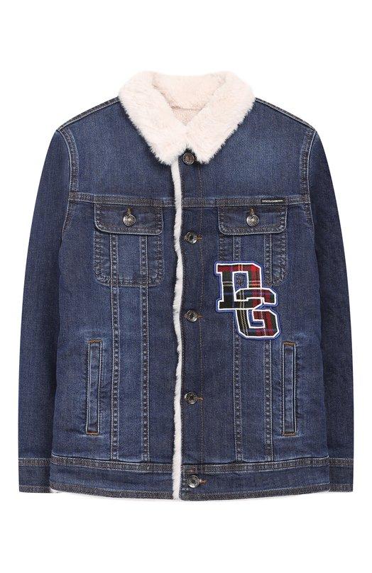 Купить Джинсовая куртка с внутренней отделкой Dolce & Gabbana, L41B71/LD737/8-14, Италия, Темно-синий, Хлопок: 98%; Подкладка-полиэстер: 60%; Подкладка-вискоза: 40%; Эластан: 2%;