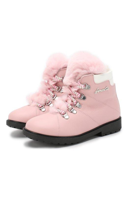 Кожаные ботинки на шнуровке с меховой отделкой Simonetta