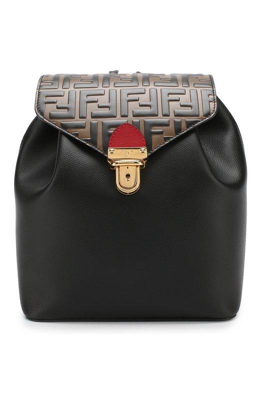 Купить Кожаный рюкзак с клапаном Fendi, 8BZ043 A3Z0, Италия, Черный, Кожа натуральная: 100%;