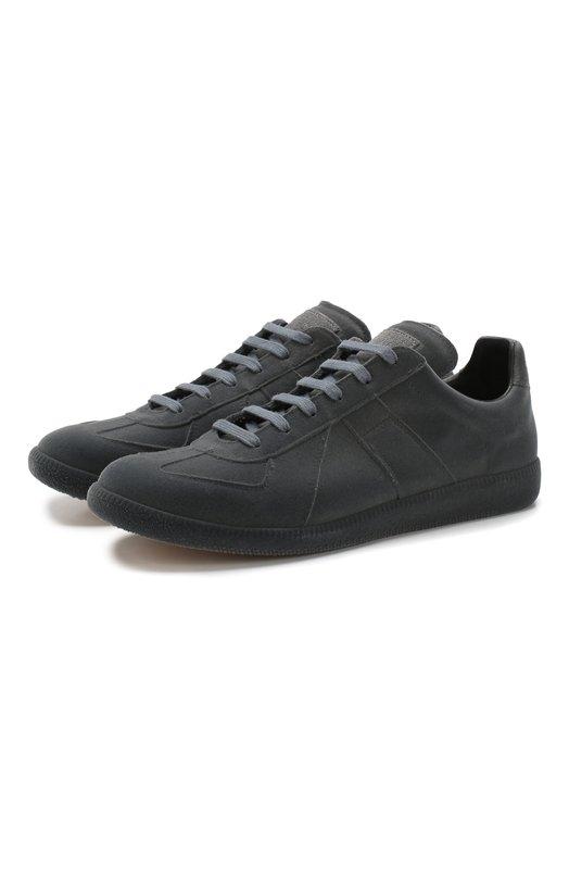 Купить Кожаные кроссовки Replica на шнуровке Maison Margiela, S37WS0461/P1990, Италия, Серый, Подошва-Резина: 100%; Подкладка-Кожа: 100%; Кожа: 100%; Низ-Кожа: 100%;