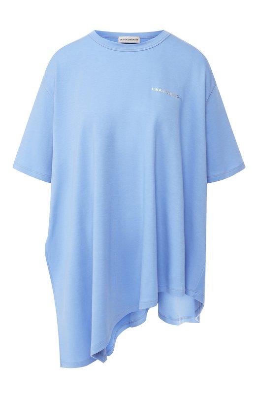 Купить Хлопковая футболка свободного кроя Vika Gazinskaya, FW18-1234, Россия, Голубой, Хлопок: 100%;