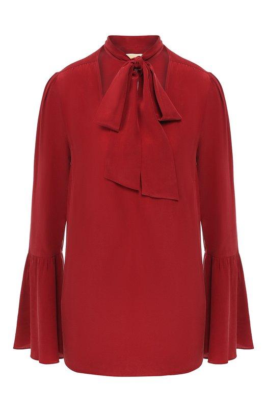 Купить Шелковая блуза с воротником аскот MICHAEL Michael Kors, MF84LLL96K, Китай, Бордовый, Шелк: 100%;