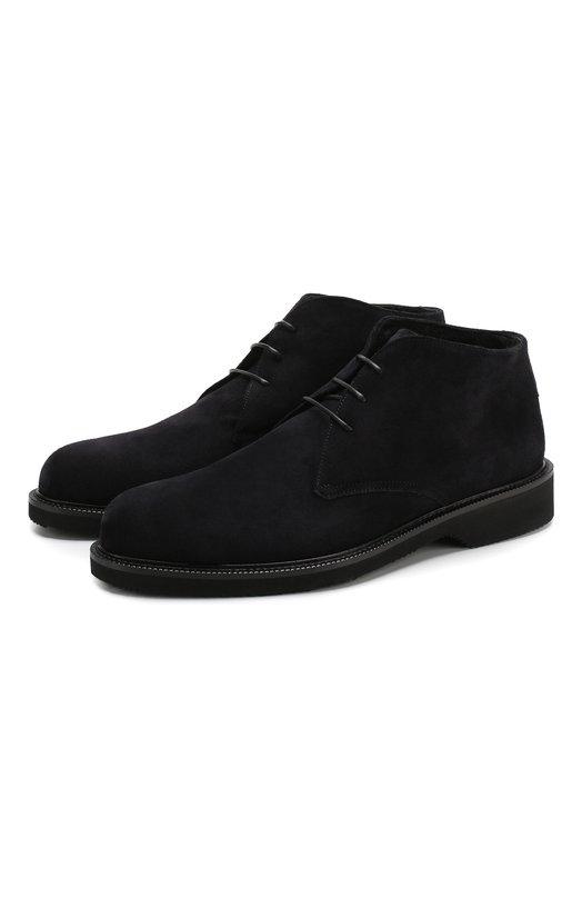 Купить Замшевые ботинки на шнуровке с внутренней меховой отделкой Ermenegildo Zegna, A3100X-FCH, Италия, Темно-синий, Подошва-Резина: 90%; Подкладка-Мех/овчина/: 100%; Кожа: 100%; Низ-Мех/овчина/: 100%; Подошва-Кожа: 10%;