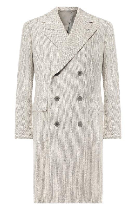 Двубортное пальто из смеси шерсти и шелка Ralph Lauren