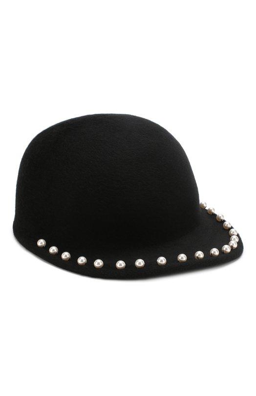 Купить Фетровое кепи с отделкой жемчужинами Eugenia Kim, 28102-24418, США, Черный, Фетр/овчина/: 100%;
