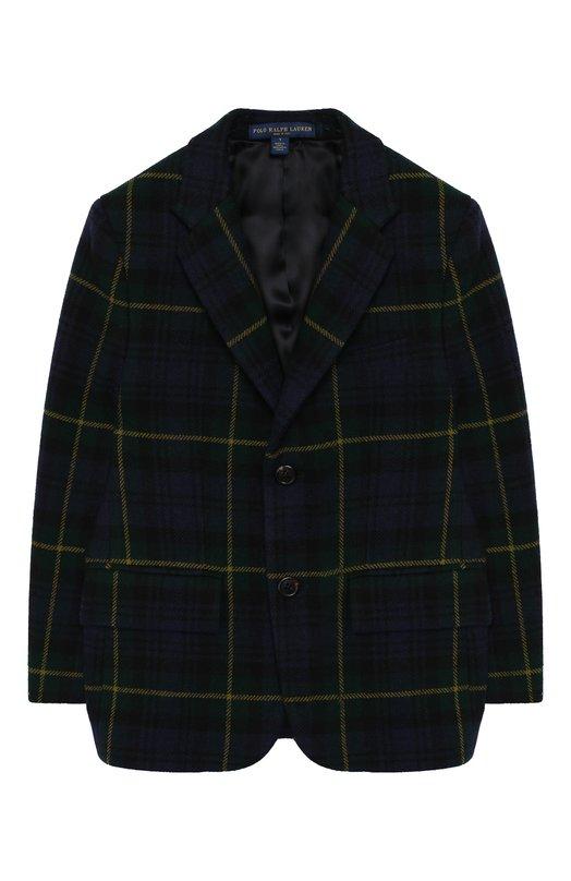 Купить Шерстяной пиджак на двух пуговицах Polo Ralph Lauren, 352720198, Италия, Зеленый, Шерсть: 100%;