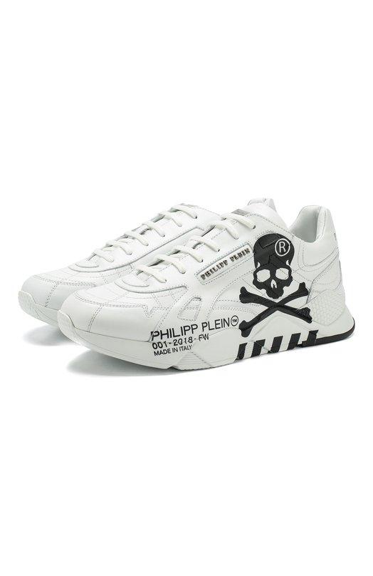 Кожаные кроссовки на шнуровке Philipp Plein