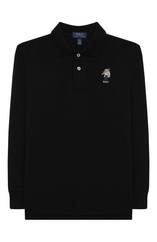 Купить Хлопковое поло с длинными рукавами Polo Ralph Lauren, 323713071, Вьетнам, Черный, Хлопок: 100%;