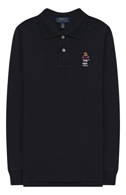 Купить Хлопковое поло с длинными рукавами Polo Ralph Lauren, 323713072, Вьетнам, Синий, Хлопок: 100%;