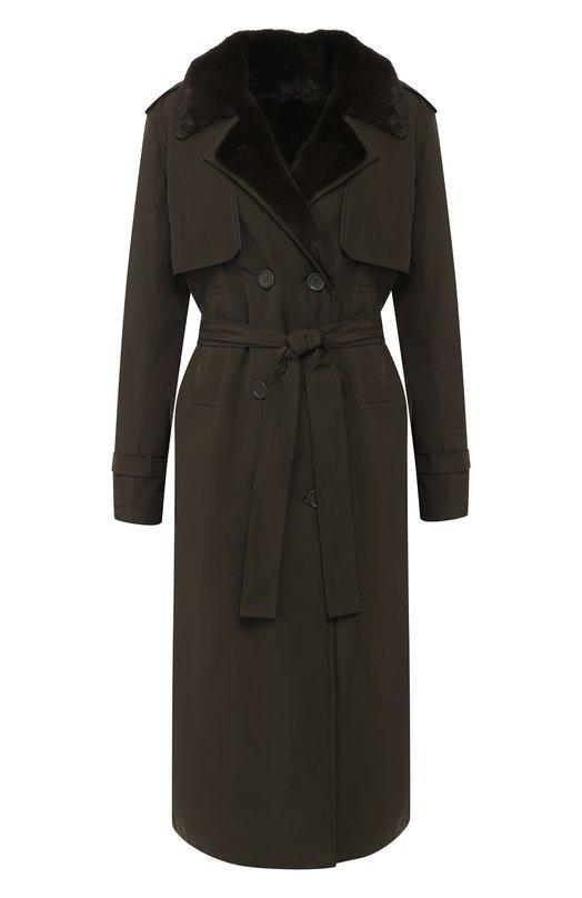 Купить Двубортное пальто с подкладкой из меха норки Yves Salomon, 9WYM39620NYVC, Франция, Хаки, Полиэстер: 100%; Подкладка-мех/норка/: 100%;