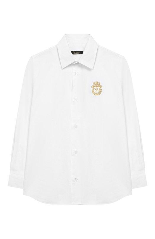 Купить Хлопковая рубашка с воротником кент Billionaire, 018C BRP0058 BTE004N/4-10, Италия, Белый, Хлопок: 97%; Эластан: 3%;