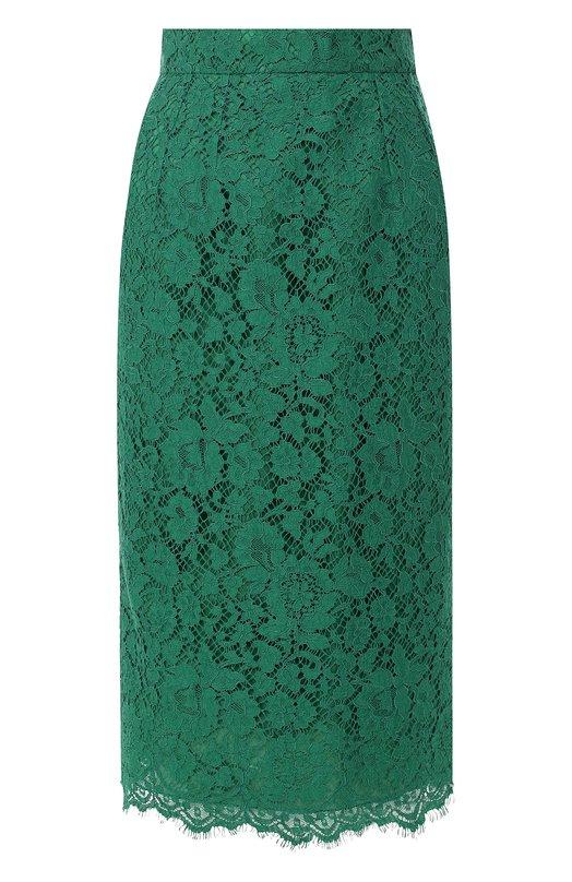Купить Кружевная юбка-карандаш с разрезом Dolce & Gabbana, F4BG6T/HLMHW, Италия, Зеленый, Хлопок: 46%; Вискоза: 43%; Полиамид: 11%;