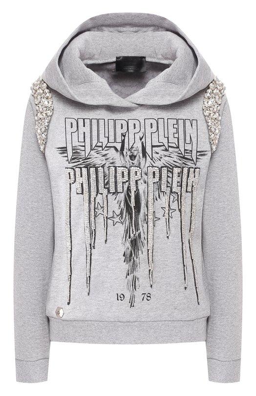 Купить Хлопковый пуловер с капюшоном Philipp Plein, A18C WJB0464 PJ0002N, Италия, Серый, Хлопок: 70%; Полиэстер: 30%;